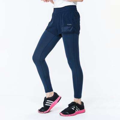 【ATUNAS 歐都納】女款運動假兩件彈性長跑褲 A1-PA1721W 深藍