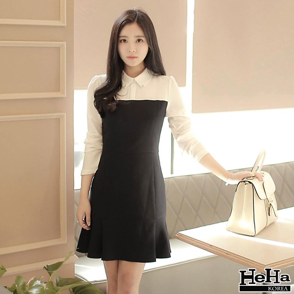洋裝 黑白拼接長袖娃娃領連身裙-HeHa