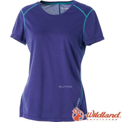Wildland 荒野 0A51603-53紫色 女 圓領雙色排汗抗UV上衣