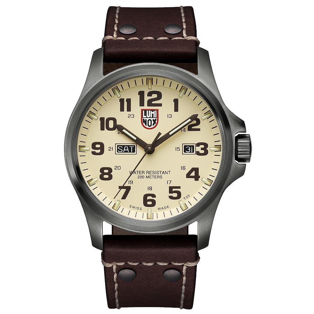 LUMINOX ATACAMA戰場系列藍寶鏡面腕錶-卡其x棕色時標/45mm