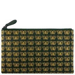 BOTTEGA VENETA 小羊皮蝴蝶圖紋手拿包/化妝包(綠色)