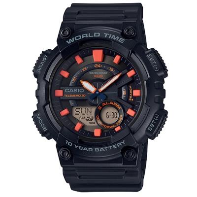 CASIO 悍將世界城市玩家雙顯運動錶(AEQ-110W-1A2)-黑X橘/46.6mm