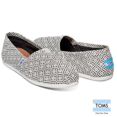 TOMS-復古窗花圖騰帆布懶人鞋-女款-白