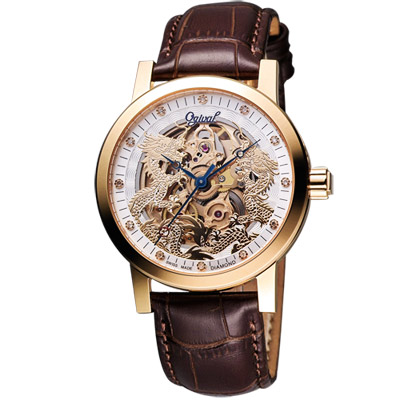 Ogival 愛其華 龍年限定版真鑽珍藏機腕錶-玫塊金/40mm