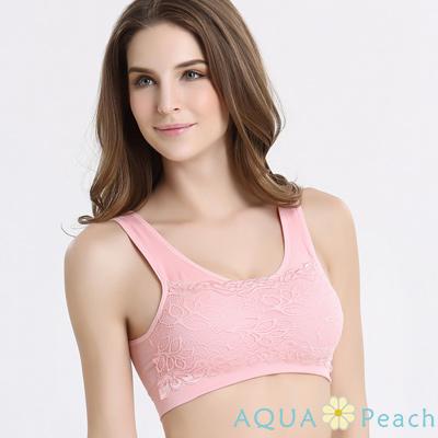 運動內衣 集中托高蕾絲花邊無鋼圈內衣 (粉色)-AQUA Peach