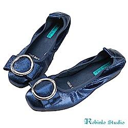 Robinlo Studio 高雅大方蝴蝶結金屬圓環牛皮娃娃鞋 藍