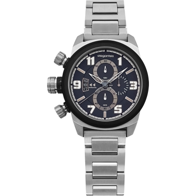 elegantsis Army 叢林戰鬥強悍三眼計時錶-深藍x銀/42mm