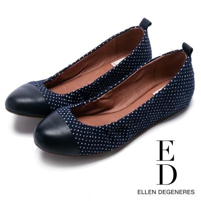 ED Ellen DeGeneres 真皮亮面鞋頭百搭平底鞋-深藍