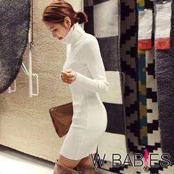 [情人節送禮推薦]正韓 純色高領羅紋針織包臀洋裝 (共三色)-W BABIES