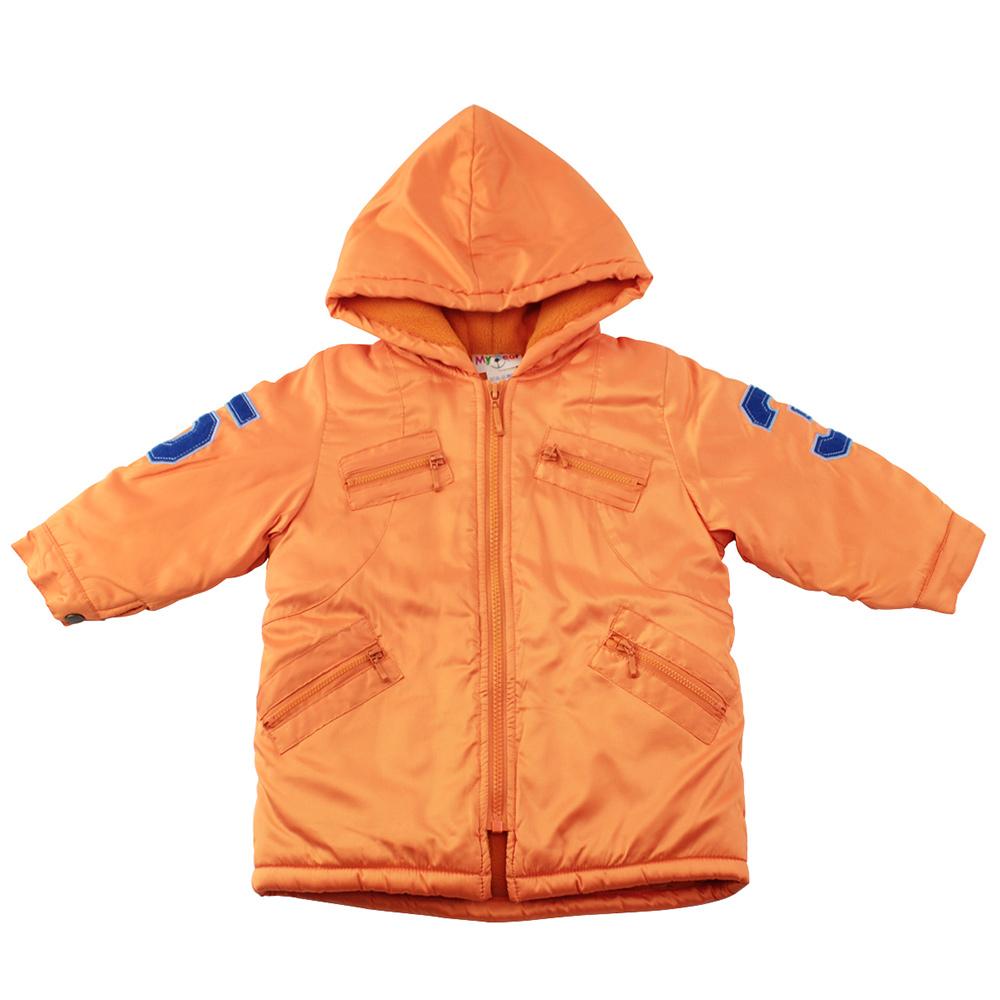 愛的世界 MYBEAR 防風舖棉數字刷毛布連帽外套/2-3歲-中國製-