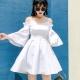 露肩細肩帶喇叭袖收腰洋裝(白色)-Kugi Girl product thumbnail 1
