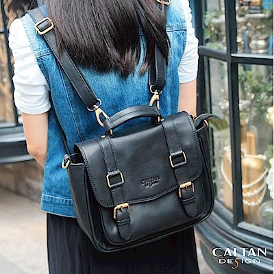 CALTAN-後背包 三用包 學院風真皮 肩背包 手提包 女用 女包-5404ht-bk