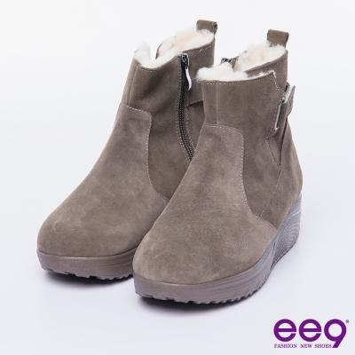 ee9 芯滿益足~率性時髦經典素面毛茸茸柔軟兔毛短靴~卡其