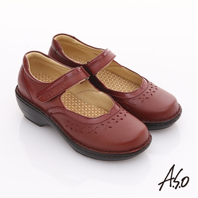 A.S.O 美型氣墊 牛皮雕花v口奈米氣墊鞋 紅