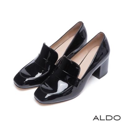 ALDO-原色光澤感半圓柱型粗跟樂福鞋-尊爵黑色