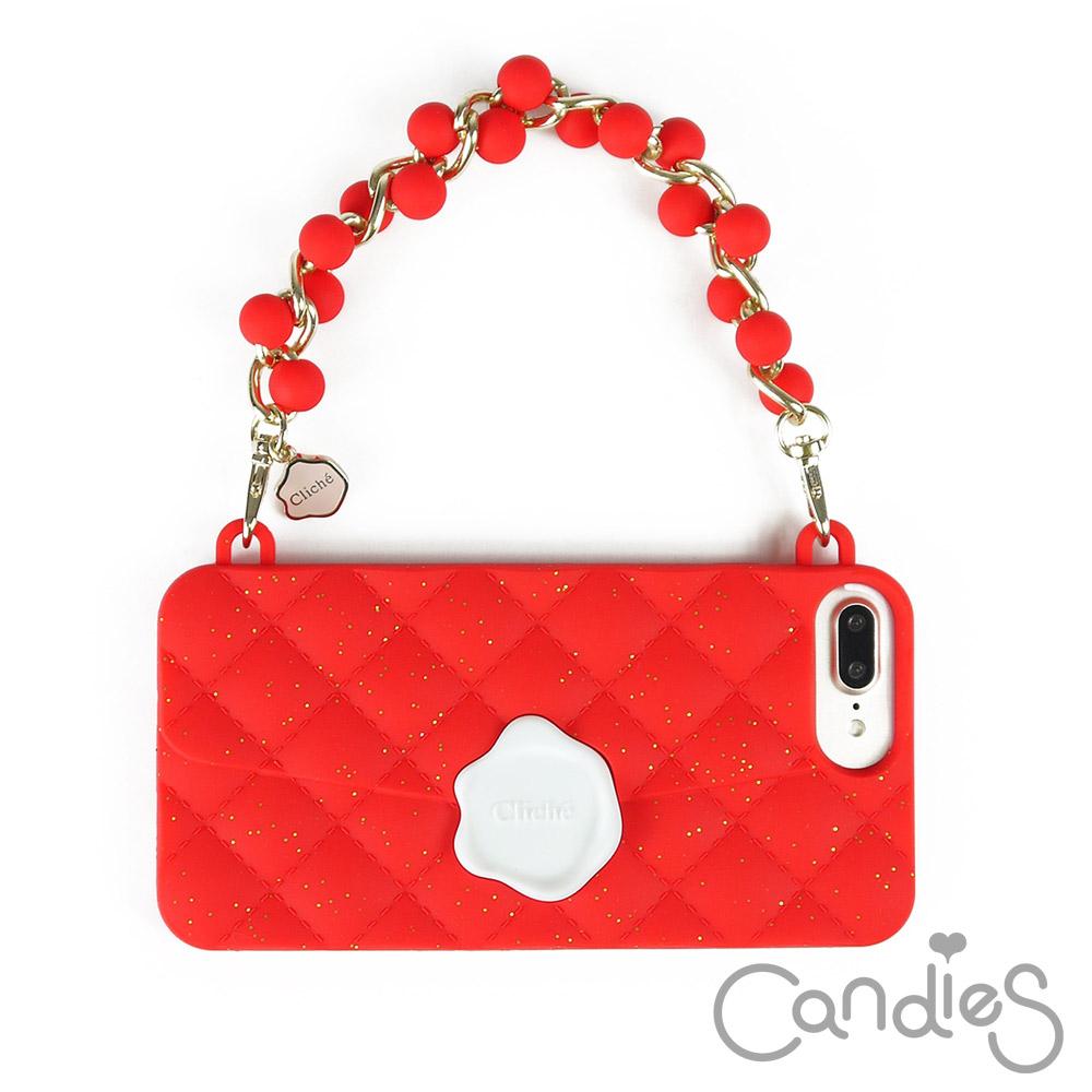Candies 珠鍊經典晚宴包(紅)iPhone7 Plus/iPhone8 Plus