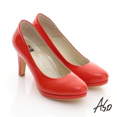 A.S.O 都會時尚 鏡面牛皮甜美馬卡龍高跟鞋 橘