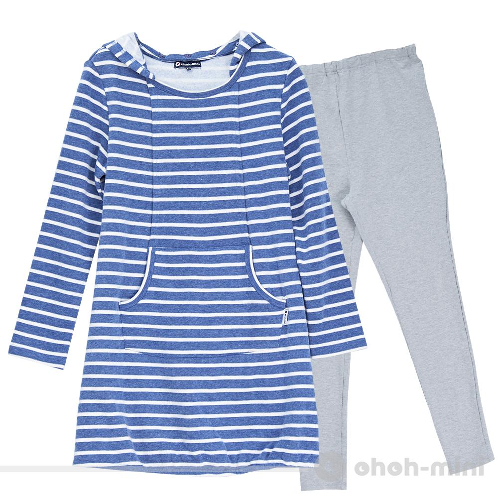 ohoh-mini孕婦裝 俏皮媽咪可拆式連帽條紋成套睡衣