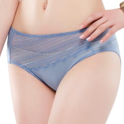 思薇爾 幾何花系列M-XXL蕾絲中腰三角內褲(灰夜藍)