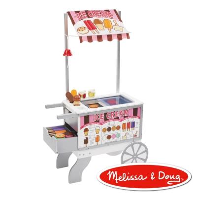 美國瑪莉莎 Melissa & Doug 木製玩食趣 – 小老闆的點心餐車(內含40個以上配件)