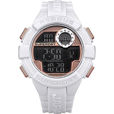 Superdry極度乾燥 運動風時尚電子手錶-白/55mm