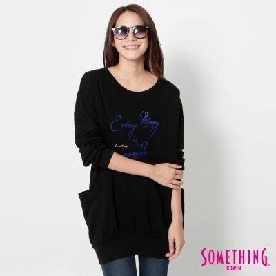 SOMETHING 花苞側口袋長版T恤-女-黑色