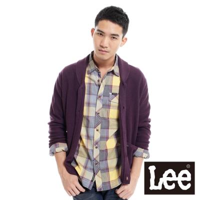 Lee-前開扣長袖針織保暖針織外套-男款-紫
