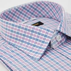 金‧安德森 粉色格紋窄版短袖襯衫