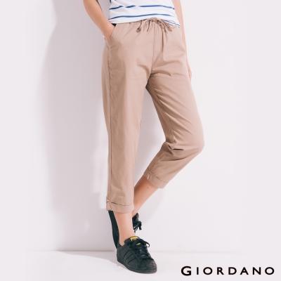 GIORDANO-女裝棉質素面抽繩七分褲-89新薩哈拉