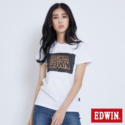 EDWIN 太空銀河夜光短袖T恤-女-白色