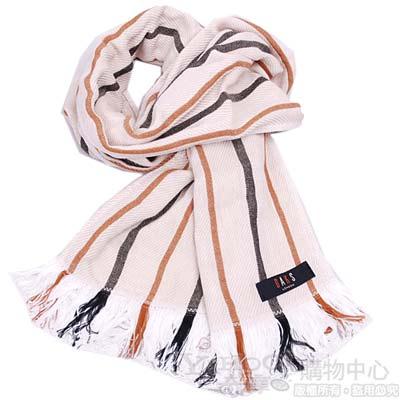 DAKS 經典品牌配色直紋棉質長圍巾(卡其)
