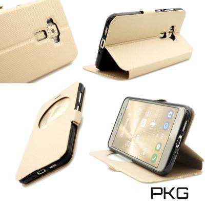 PKG ASUS Zenfone3 5.5吋 ZE552KL皮套側翻式-開窗格紋...