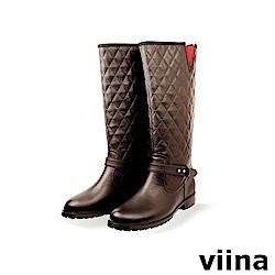 viina 菱格紋彈性長靴-咖啡色