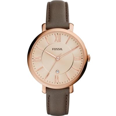 FOSSIL 羅馬風尚優雅皮革腕錶-玫瑰金x咖啡/36mm