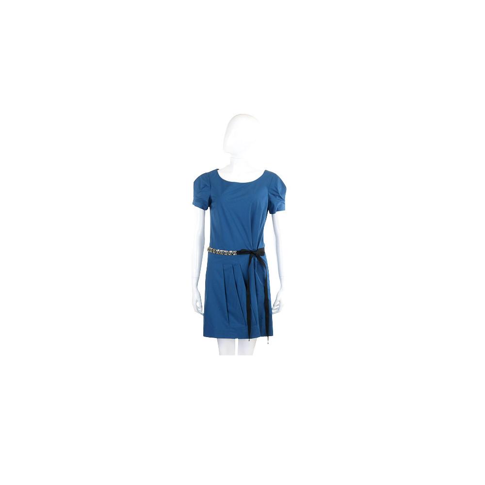 PHILOSOPHY 藍色珠飾腰帶短袖洋裝