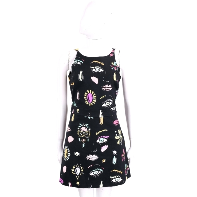 BOUTIQUE MOSCHINO 黑色抽象女人像棉質無袖洋裝