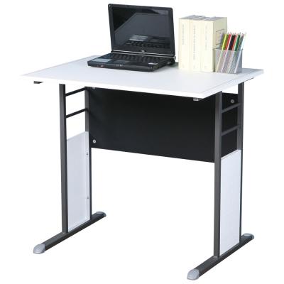 Homelike 巧思辦公桌 炫灰系列-白色仿馬鞍皮80cm