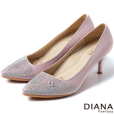 DIANA-超厚切焦糖美人款-水鑽幸運草歐系高跟鞋-粉