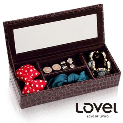 Lovel 經典鱷魚紋皮革收納家飾-有蓋附鏡4格珠寶盒(2色可選)