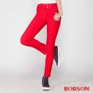 BOBSON 女款高腰強彈力小直筒褲(紅8112-13)