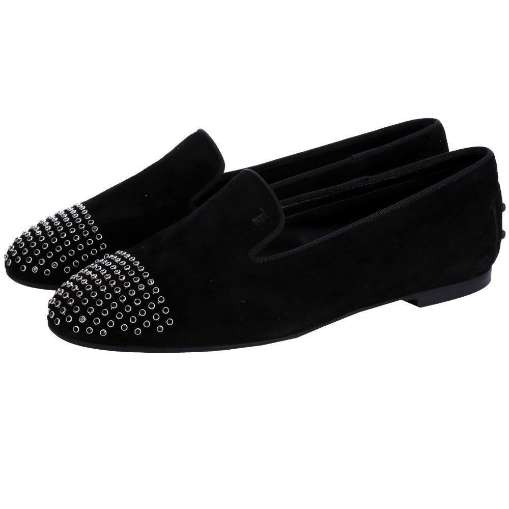 TOD'S 金屬鉚釘麂絨面平底樂福鞋(黑色)