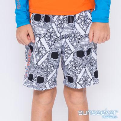 澳洲Sunseeker泳裝抗UV防曬海灘褲泳褲-大男童泳褲/骷髏黑