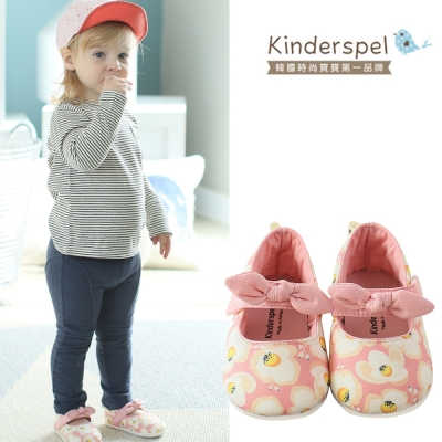 Kinderspel 輕柔細緻‧棉花糖休閒學步鞋(粉紅蛋苞花-蝴蝶結)