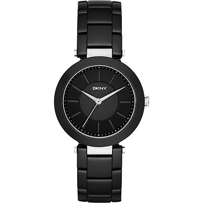 DKNY Stanhope 名模風采陶瓷時尚腕錶-黑/36mm
