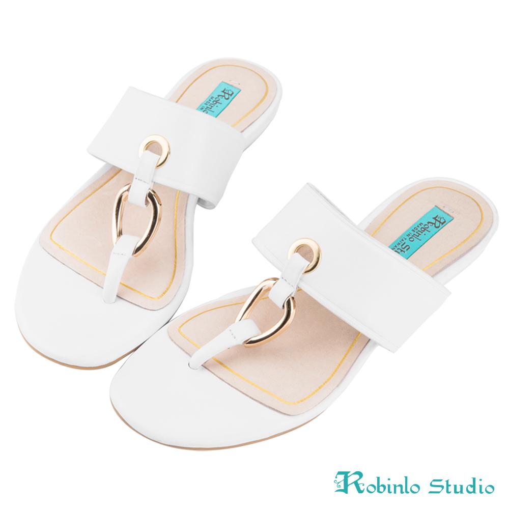 Robinlo Studio 全真牛皮羅馬風夾腳拖鞋 白色