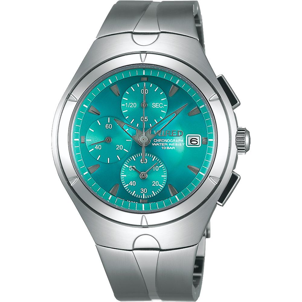 WIRED 太空復刻初代計時碼錶(AF8U23X1)-藍綠/41mm