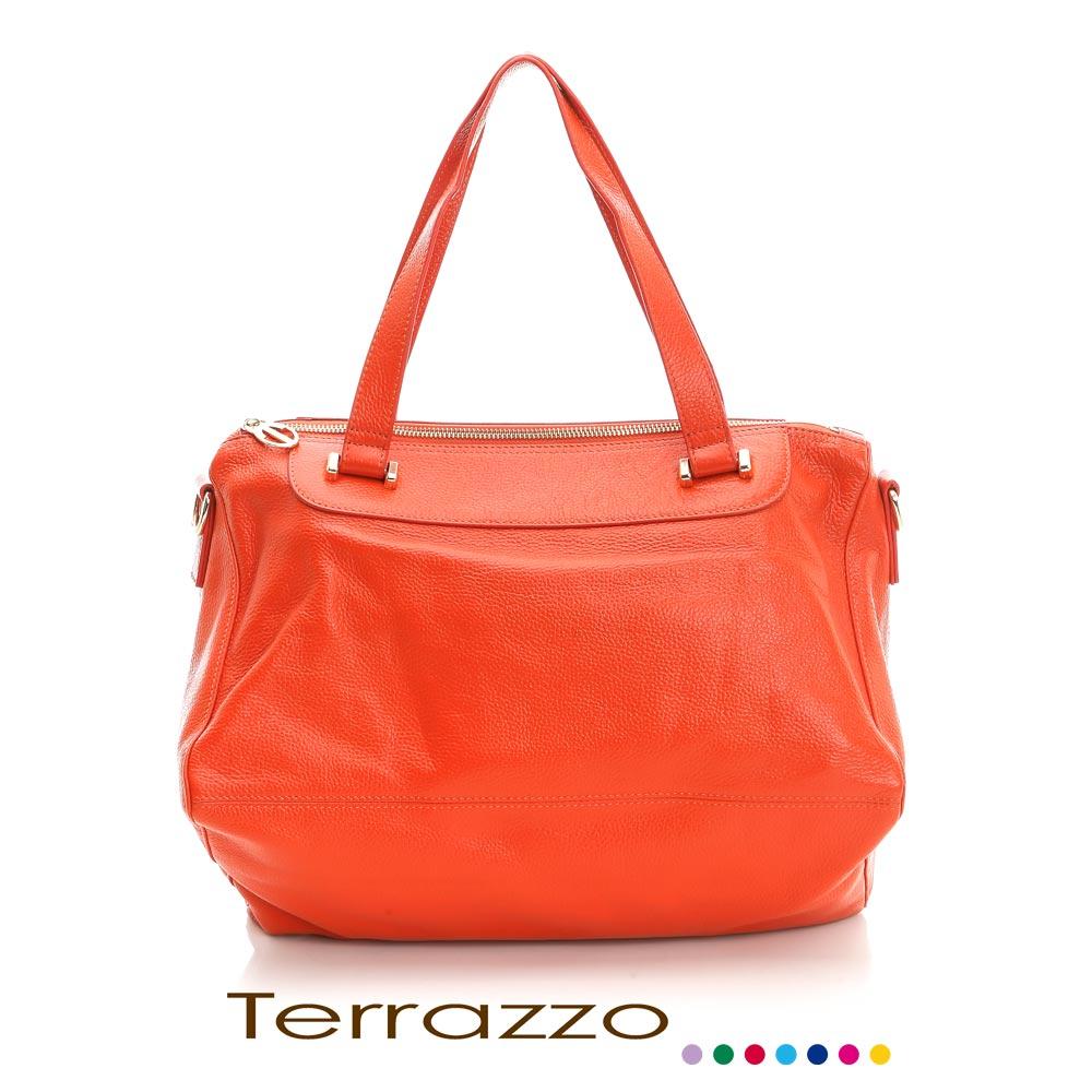 義大利Terrazzo-高質感牛皮獨特造型肩背包-橙色 23E0007A10900