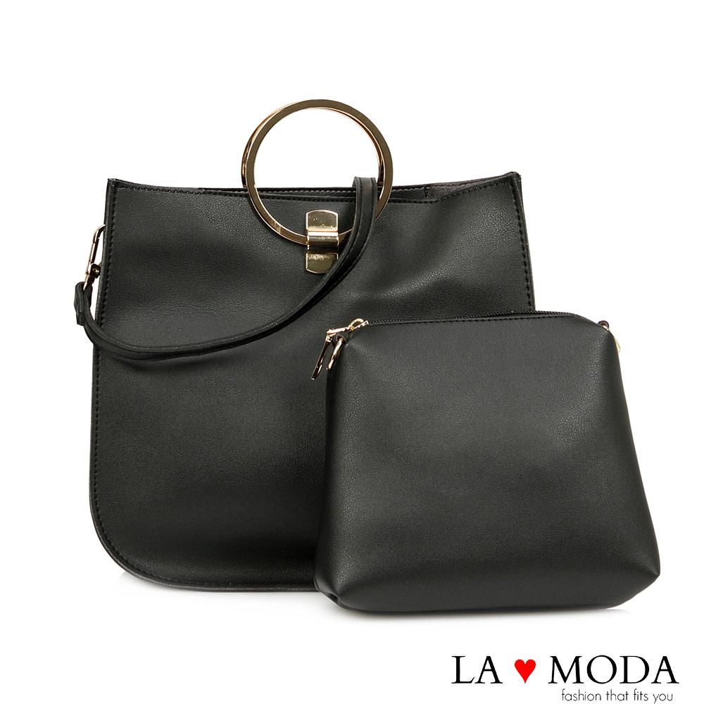 La Moda 設計感多種揹法軟皮大容量子母包(黑)