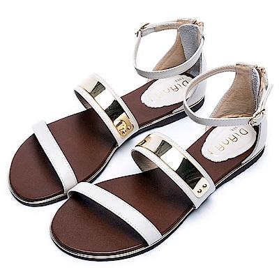 DIANA 極簡韓風--金屬飾片點綴真皮繫帶平底涼鞋 –米