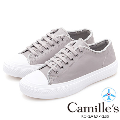 Camille's 韓國空運-綁帶絨毛滾邊休閒鞋-灰色